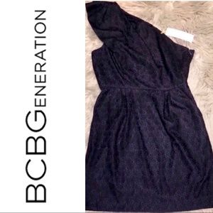 BCBGeneration Navy & Black Lace 1 Strap Dress 12